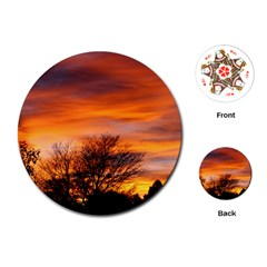 Orange Sunset Playing Cards (round)  by trendistuff