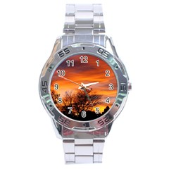 Orange Sunset Stainless Steel Men s Watch by trendistuff