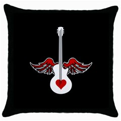 Flying Heart Guitar Throw Pillow Case (black)