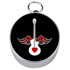 Flying Heart Guitar Silver Compass by waywardmuse