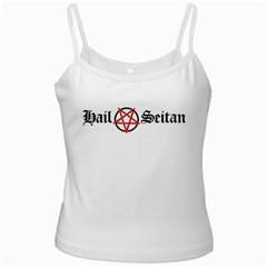 Hail Seitan White Spaghetti Tanks by waywardmuse