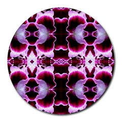 White Burgundy Flower Abstract Round Mousepads by Costasonlineshop