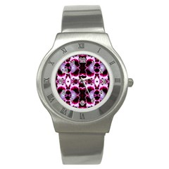 White Burgundy Flower Abstract Stainless Steel Watches by Costasonlineshop