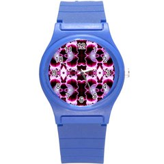 White Burgundy Flower Abstract Round Plastic Sport Watch (s) by Costasonlineshop