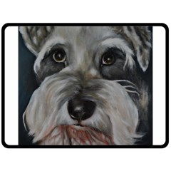 The Schnauzer Fleece Blanket (large)  by timelessartoncanvas
