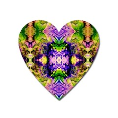 Green,purple Yellow ,goa Pattern Heart Magnet by Costasonlineshop