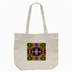Green,purple Yellow ,goa Pattern Tote Bag (cream)  by Costasonlineshop