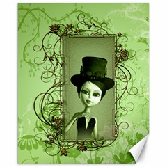 Cute Girl With Steampunk Hat And Floral Elements Canvas 16  X 20   by FantasyWorld7
