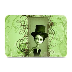 Cute Girl With Steampunk Hat And Floral Elements Plate Mats by FantasyWorld7
