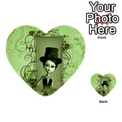 Cute Girl With Steampunk Hat And Floral Elements Multi Purpose Cards (heart)