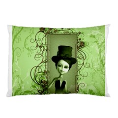 Cute Girl With Steampunk Hat And Floral Elements Pillow Cases by FantasyWorld7