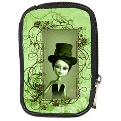 Cute Girl With Steampunk Hat And Floral Elements Compact Camera Cases by FantasyWorld7