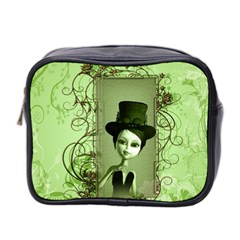 Cute Girl With Steampunk Hat And Floral Elements Mini Toiletries Bag 2-side by FantasyWorld7
