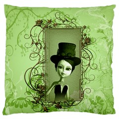 Cute Girl With Steampunk Hat And Floral Elements Standard Flano Cushion Cases (two Sides)  by FantasyWorld7