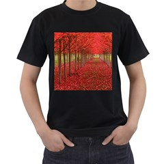 Avenue Of Trees Men s T-shirt (black) (two Sided) by trendistuff