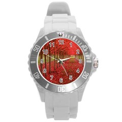 Avenue Of Trees Round Plastic Sport Watch (l) by trendistuff