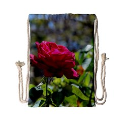 Red Rose 1 Drawstring Bag (small) by trendistuff