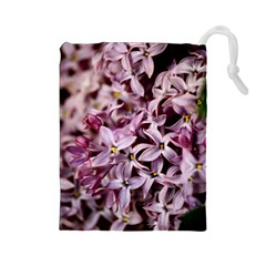 Purple Lilacs Drawstring Pouches (large)