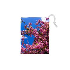 Pink Flowers Drawstring Pouches (xs)  by trendistuff