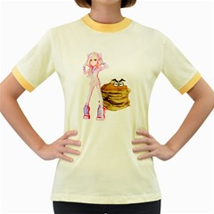 Mal Girl And Mr Pancake Women s Fitted Ringer T Shirts by michaelandrewlaw