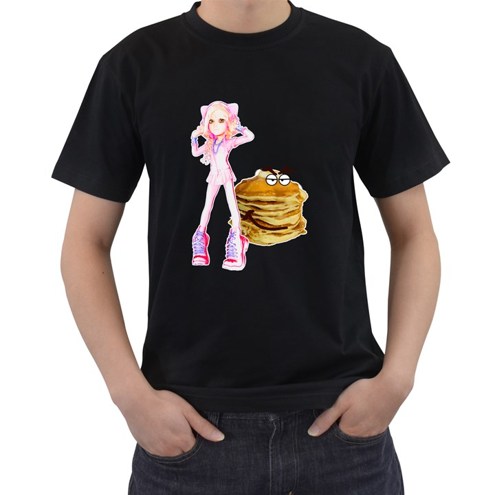 MAL GIRL AND MR PANCAKE Men s T-Shirt (Black) (Two Sided)