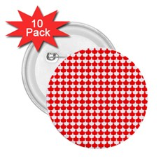 Red And White Scallop Repeat Pattern 2 25  Buttons (10 Pack)  by PaperandFrill