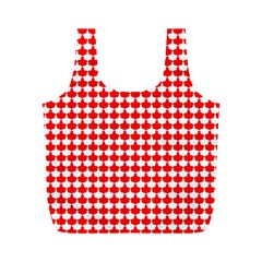Red And White Scallop Repeat Pattern Full Print Recycle Bags (m)  by PaperandFrill