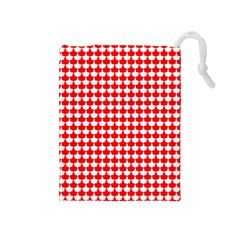Red And White Scallop Repeat Pattern Drawstring Pouches (medium)