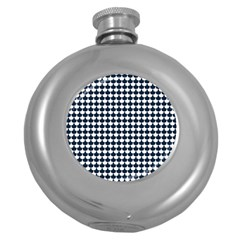 Navy And White Scallop Repeat Pattern Round Hip Flask (5 Oz) by PaperandFrill