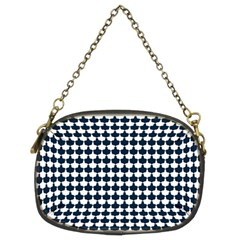 Navy And White Scallop Repeat Pattern Chain Purses (two Sides)