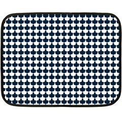 Navy And White Scallop Repeat Pattern Fleece Blanket (mini)