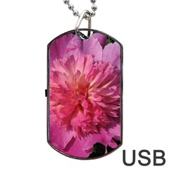 Paeonia Coral Dog Tag Usb Flash (one Side) by trendistuff