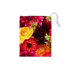 Bunch Of Flowers Drawstring Pouches (small)