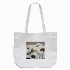 Black And White Flower Tote Bag (white)  by trendistuff