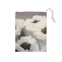 Black And White Flower Drawstring Pouches (medium)  by trendistuff