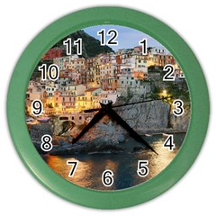 Manarola Italy Color Wall Clocks by trendistuff