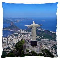 Christ On Corcovado Large Flano Cushion Cases (two Sides)  by trendistuff