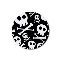 Cute Skulls Rubber Round Coaster (4 Pack)