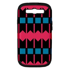 Rhombus And Stripes Pattern			samsung Galaxy S Iii Hardshell Case (pc+silicone) by LalyLauraFLM