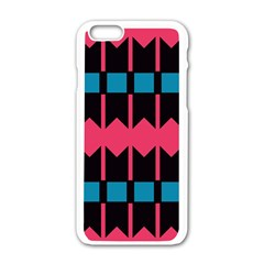 Rhombus And Stripes Pattern			apple Iphone 6/6s White Enamel Case by LalyLauraFLM