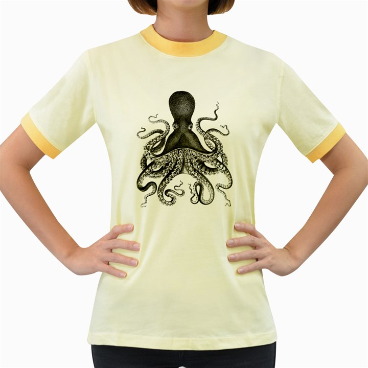 Vintage Octopus Women s Fitted Ringer T-Shirt