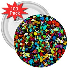 Colorful Stones, Nature 3  Buttons (100 Pack)  by Costasonlineshop