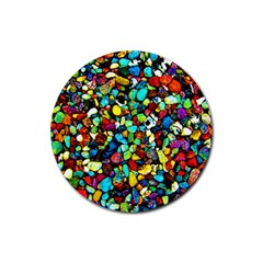 Colorful Stones, Nature Rubber Coaster (round)  by Costasonlineshop