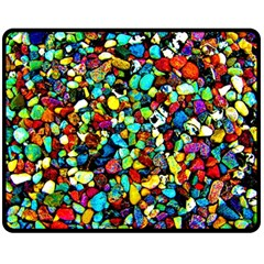 Colorful Stones, Nature Double Sided Fleece Blanket (medium)  by Costasonlineshop