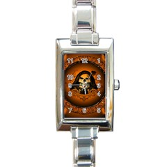 Awsome Skull With Roses And Floral Elements Rectangle Italian Charm Watches by FantasyWorld7