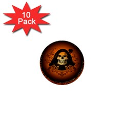 Awsome Skull With Roses And Floral Elements 1  Mini Buttons (10 Pack)  by FantasyWorld7