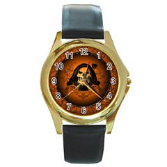 Awsome Skull With Roses And Floral Elements Round Gold Metal Watches by FantasyWorld7