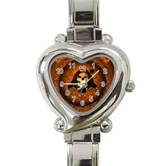 Awsome Skull With Roses And Floral Elements Heart Italian Charm Watch by FantasyWorld7
