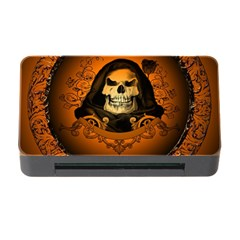Awsome Skull With Roses And Floral Elements Memory Card Reader With Cf by FantasyWorld7