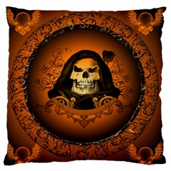 Awsome Skull With Roses And Floral Elements Large Flano Cushion Cases (one Side)  by FantasyWorld7